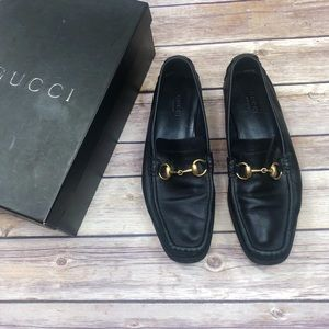 GUCCI Black Calfskin Horsebit Driver Loafers